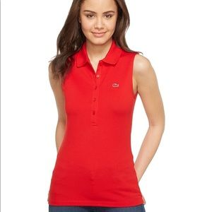 Red Lacoste polo tank top size 4
